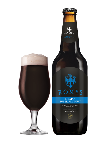 komes russian imperial stout bottle and glass